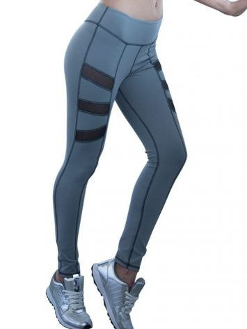 Side Plank Mesh Yoga Leggings Gray- Nina B Roze