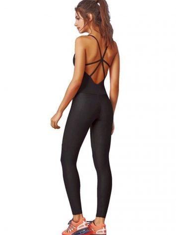CAJUBRASIL 7576 Sexy Workout  Romper Jumpsuit Graphic Black
