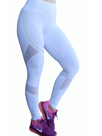 OXYFIT Leggings 14441 Soft WH- Sexy Workout Leggings Cutout Mesh Panels