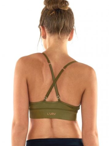 L'URV Sports Bra Leather Lust Bralette-Olive Top Sexy Workout Top