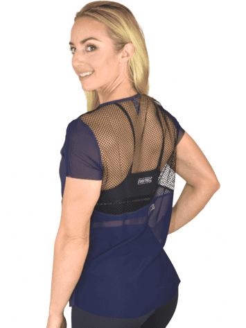 COLCCI FITNESS T-Shirt 365700104 Mesh Top Stronger Together Navy