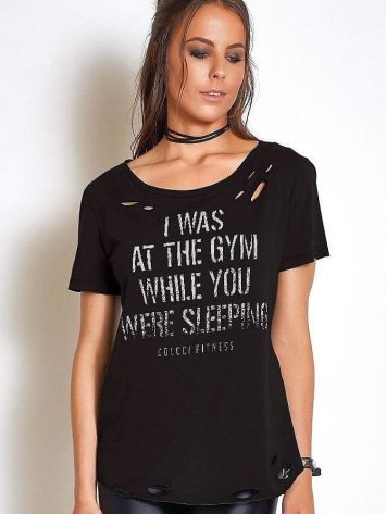 """COLCCI FITNESS T-Shirt 345700036 """"I Was at the GYM """" BK"""