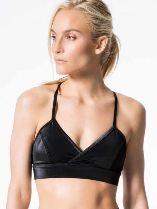 L'URV Leather Lust Bralette-Black Top Sexy Workout Top
