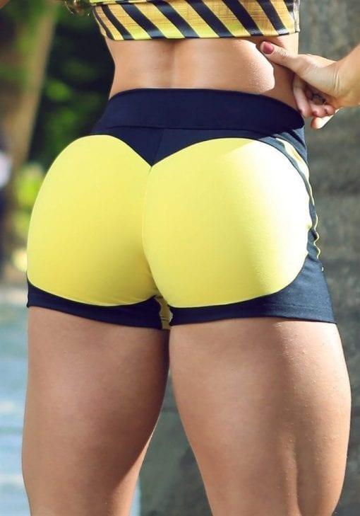 DYNAMITE Shorts SH2094-1 Apple Booty BK Yellow-Sexy Shorts