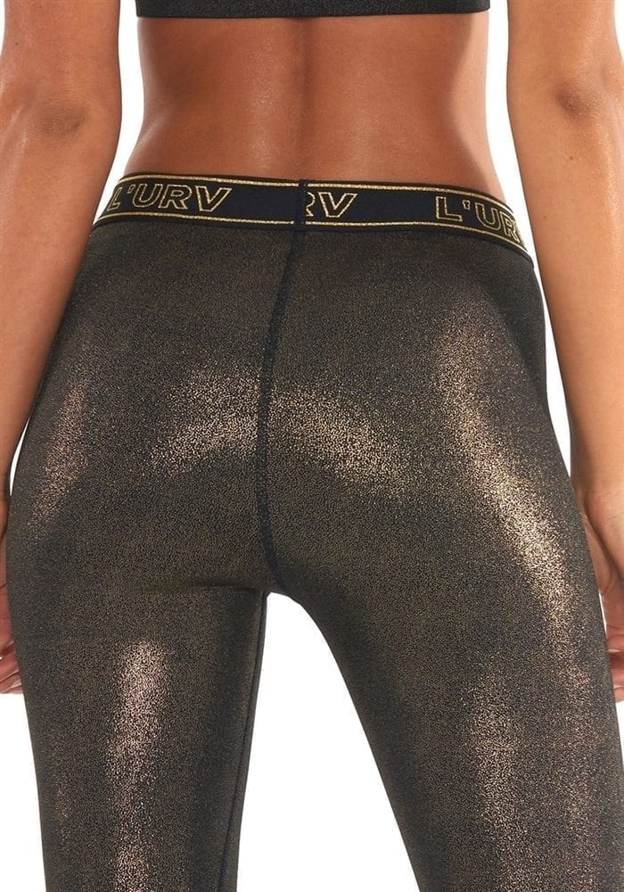 L'URV Leggings ALL THAT GLITTERS Legging Sexy Workout Tights Black Gold