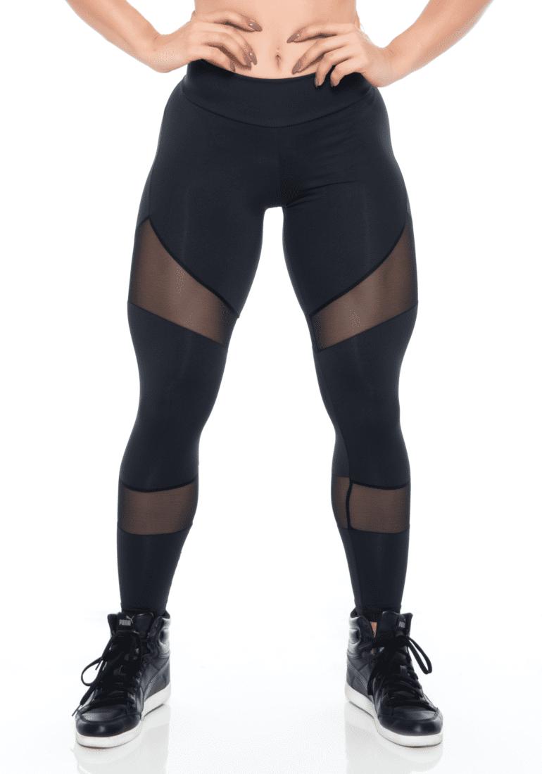 BFB Activewear Leggings SEXY TULE Black Sheer Mesh -Sexy Leggings