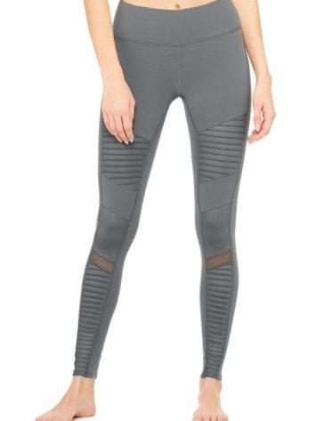 ALO Yoga Sexy Moto Yoga Leggings Sexy Pilates Leggings Slate