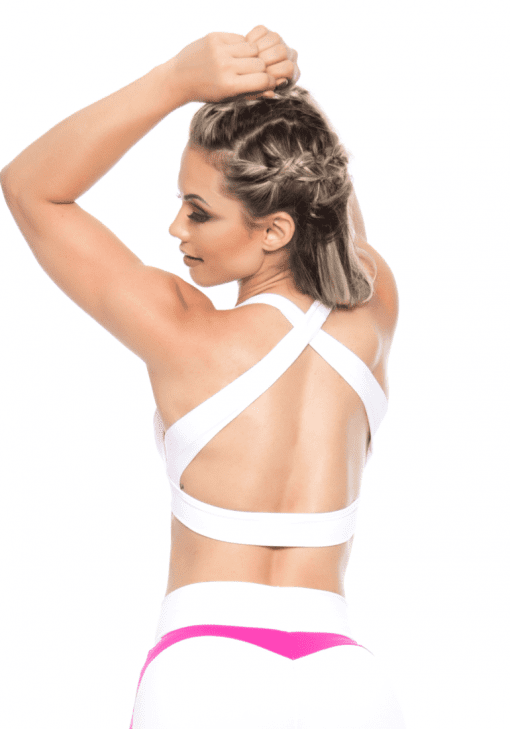 BOMBSHELL BRAZIL Sports Bra Bulge - White -Sexy Workout Top