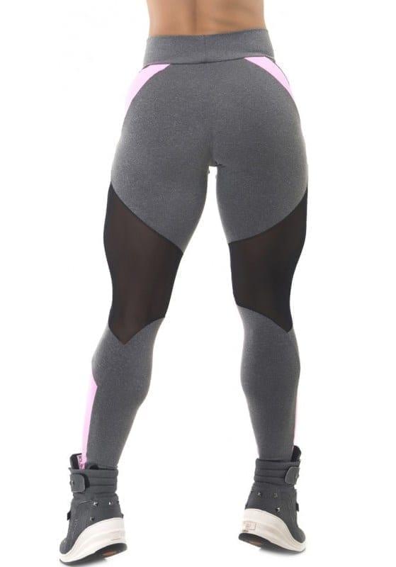BFB Activewear Leggings Body Power Mescla - Gray/Pink - Sexy Leggings
