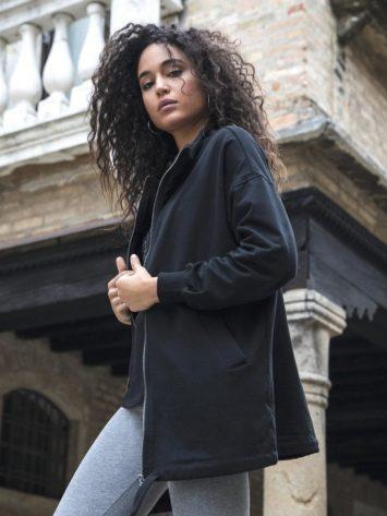FREDDY WR.UP Slounge oversize sweatshirt with zip and drawstring hem – F8WBHS1 black