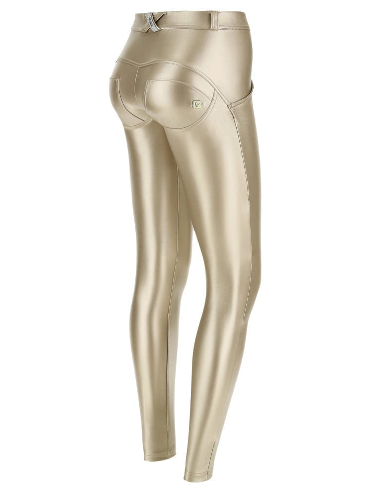 FREDDY WR.UP Faux Leather - Mid Rise Full Length - Metallic Gold