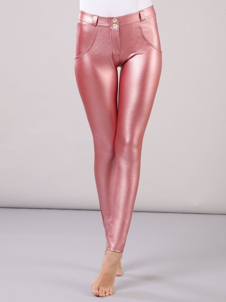 FREDDY WR.UP Faux Leather - Mid Rise- Full Length - Metallic Pink