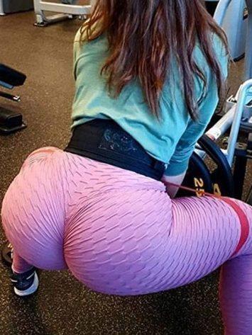 Scrunchy Leggings HoneyComb – High-Waist Anti-Cellulite – Pink BFB