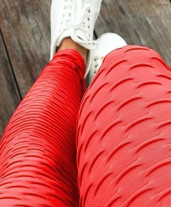 Scrunchie Butt Leggings HoneyComb - High-Waist Anti-Cellulite - Red BFB