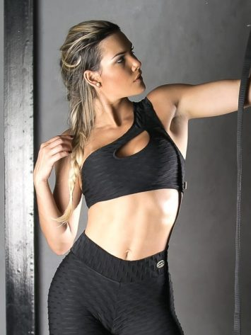 Sports Bra Top shoulder unilateral – (Black)