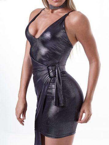 LabellaMafia Dress MVT16127 Metallic Gray Night