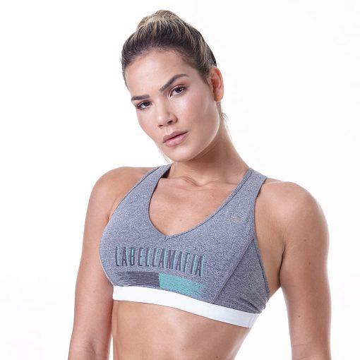 LabellaMafia Pastels Gray Fitness Sports Bra Top - FTP13839