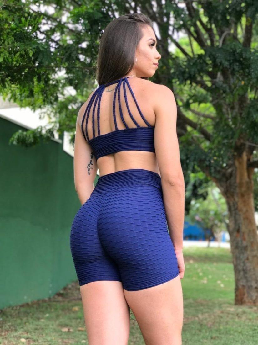 Scrunchie Butt Shorts- Brocade Butt - Scrunchie - Navy Blue