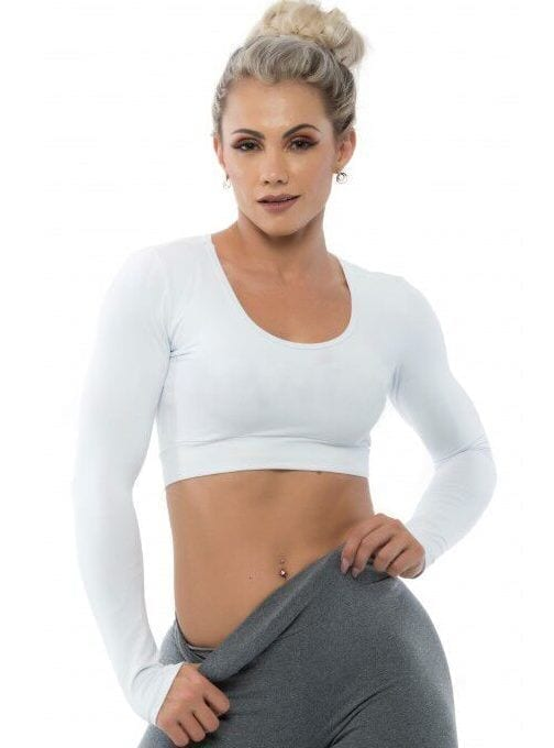 BFB Activewear Cropped Top Long Sleeve - White