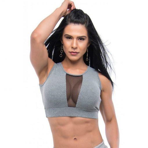 BFB Activewear Sports Bra Crop Top Strip - Gray