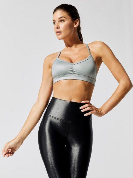 ALO Yoga Alosoft Base Sports Bra - W9238R - Powder Blue Heather