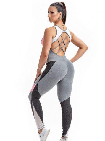 Jumpsuit Bent 15227 Gray Heather Yogurte White-Sexy Rompers-1-Piece