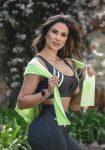 Sports Bra Top Loop 27241 Charcoal Heather Neon Green