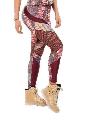 BFB Activewear Leggings Body Power Wine Print – 37182