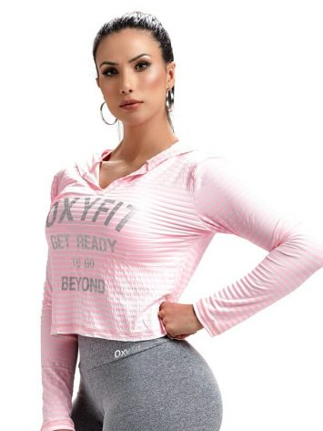 OXYFIT Sweat Jacket Blusa Get 46465- Hoody Crop – Rosa