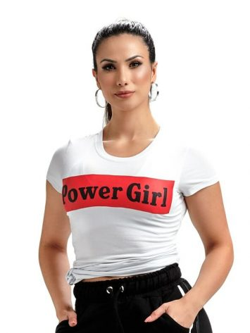 OXYFIT T-shirt Baby Look Power Girl – 46481 – White