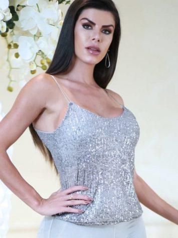 DYNAMITE BRAZIL Blouse – Festo  Platinum Silver Sequined