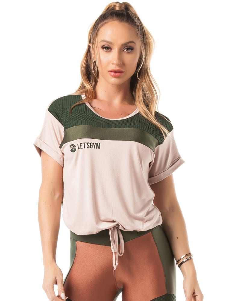 Let's Gym Fitness Blouse M/C Top – nude