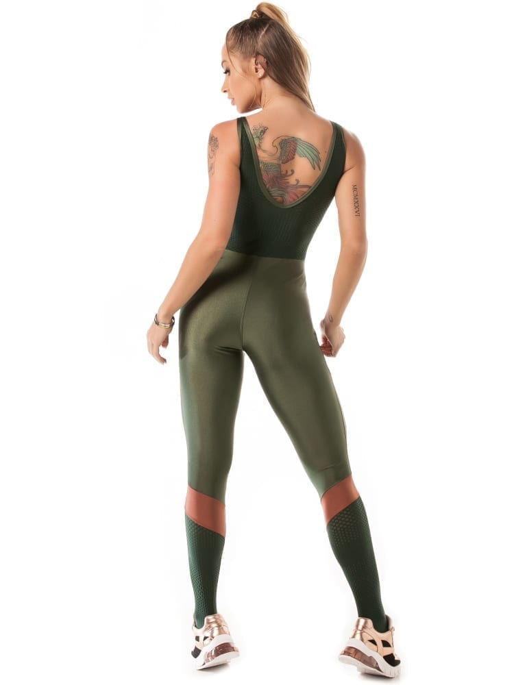 Let's Gym Airy Shine Jumpsuit - Green