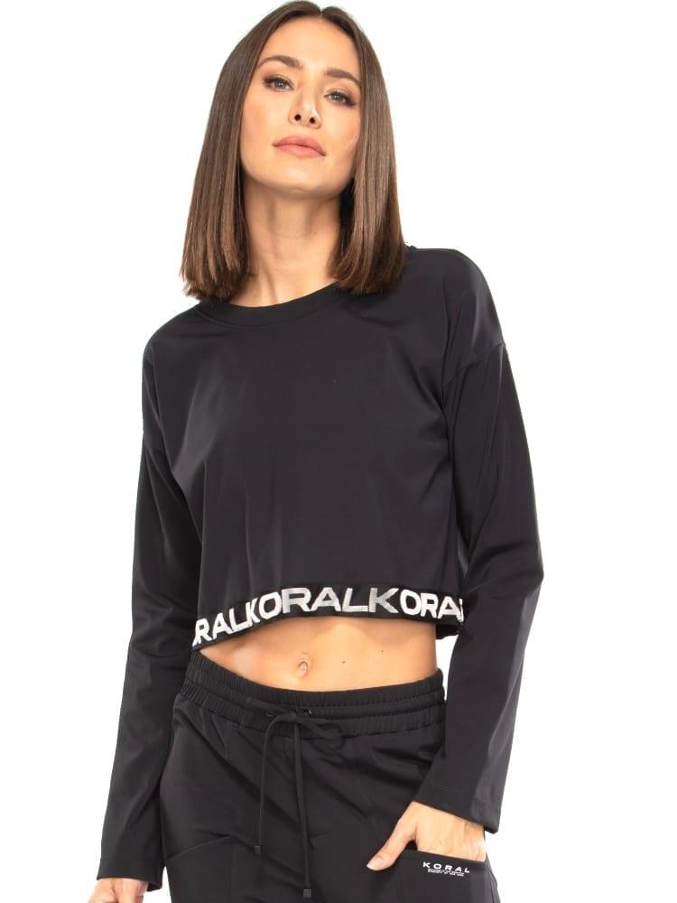 Koral Valor Blackout Crop Top – Black