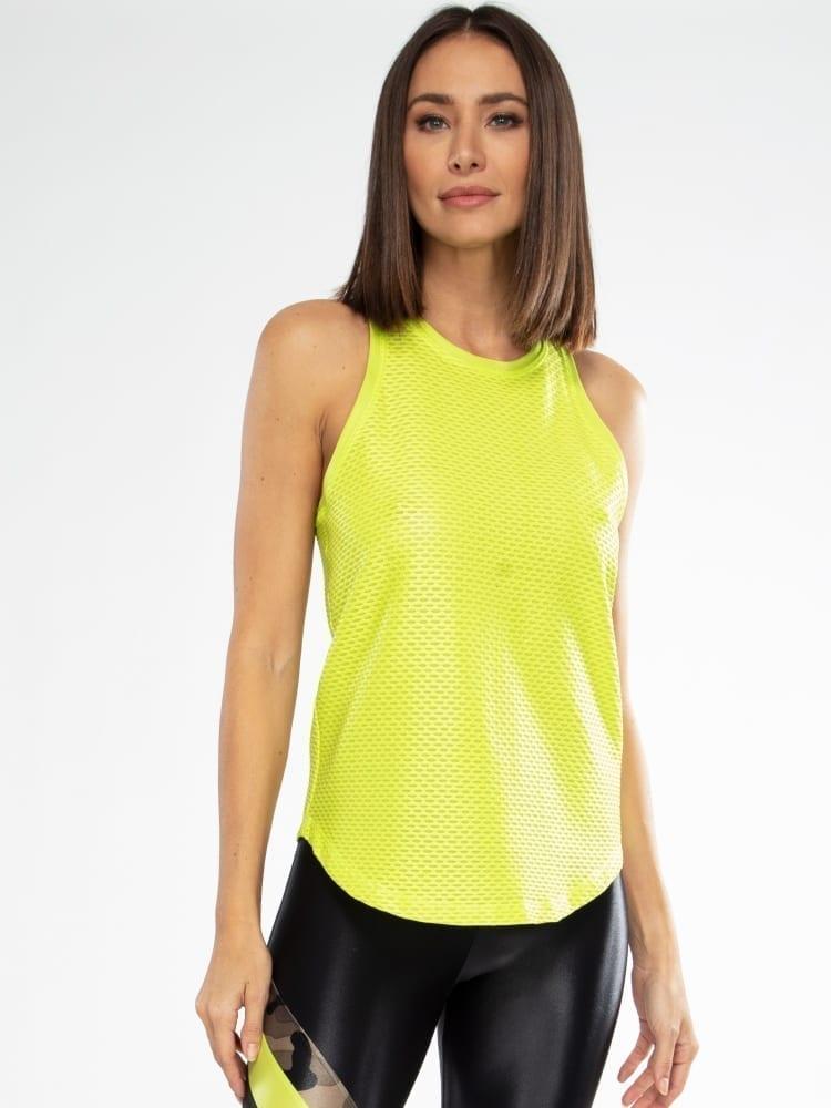 Koral Aerate Shiny Netz Tank Top – Neon Lime