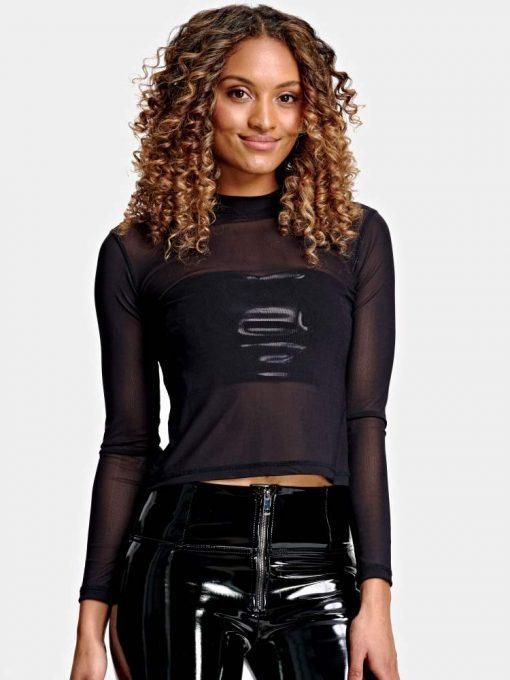 FREDDY WR.UP Cut-off Shirt w/long mesh sleeves - Black