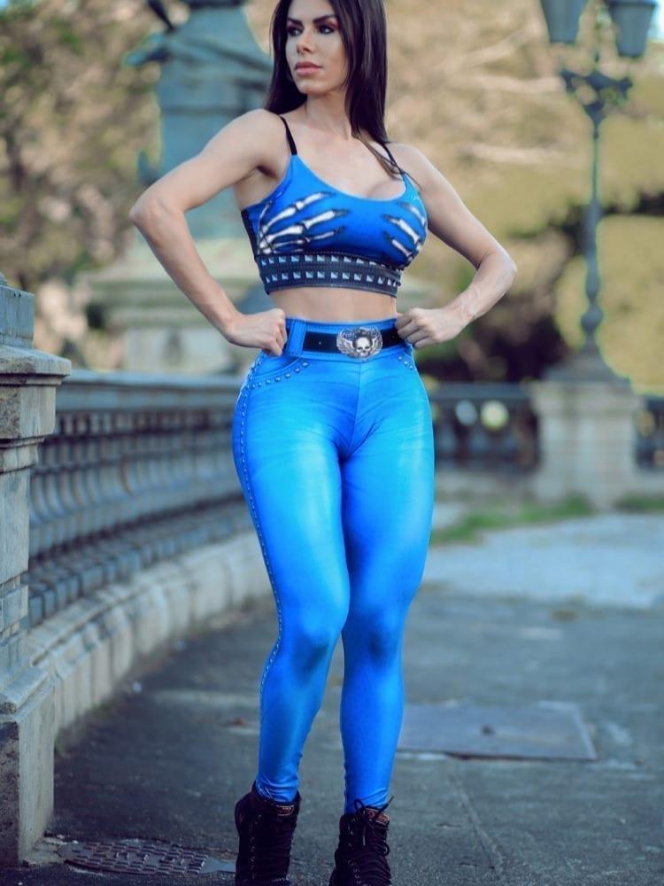 DYNAMITE BRAZIL Leggings L400 Naughty Skeleton Pants Blue