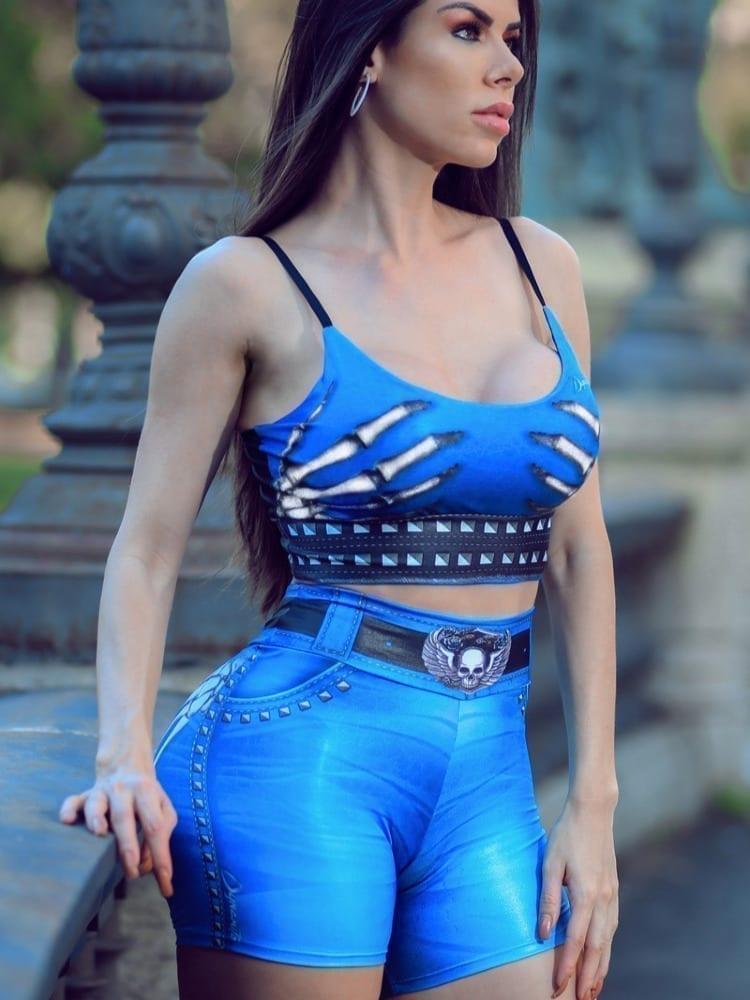 DYNAMITE BRAZIL Sports Bra Top T221 Naughty Skeleton Blue