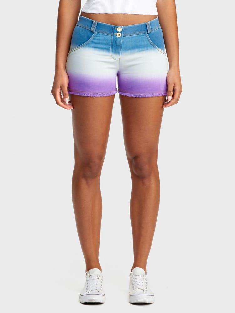 FREDDY WR.UP Denim - Mid-Rise Shorts-Light Blue/Purple Sunset fade