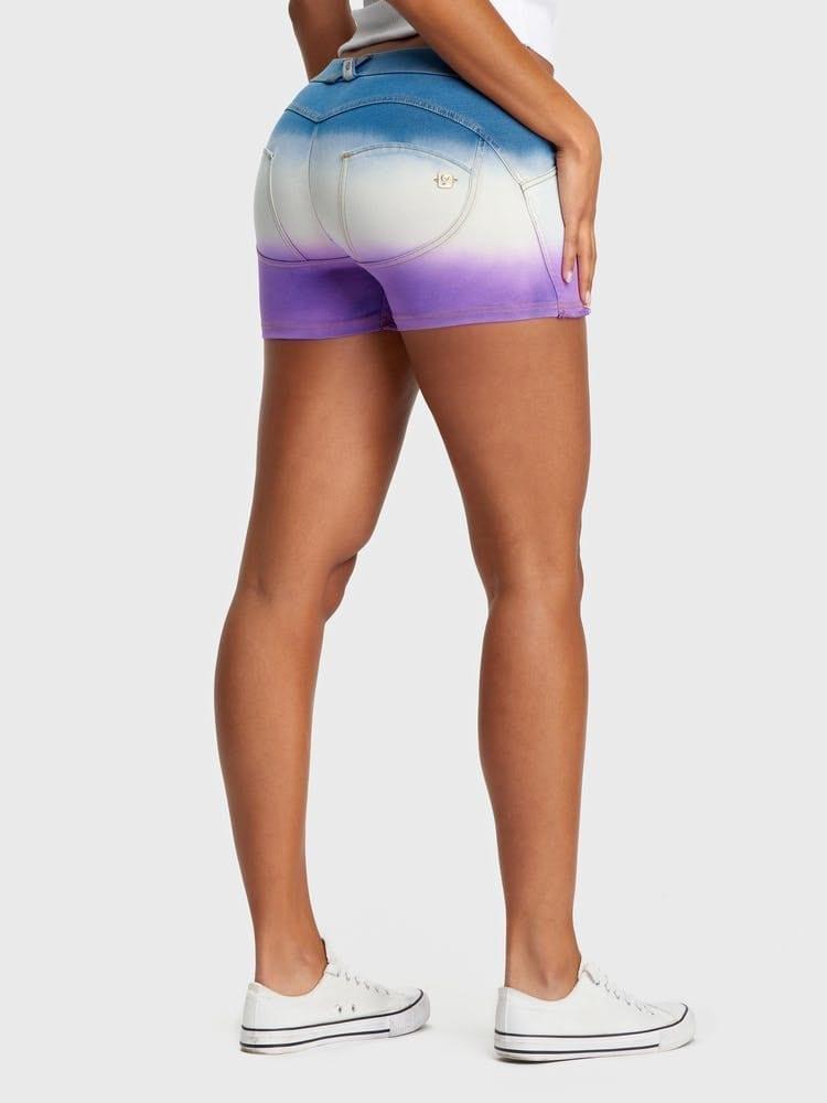 FREDDY WR.UP Denim – Mid-Rise Shorts-Light Blue/Purple Sunset fade