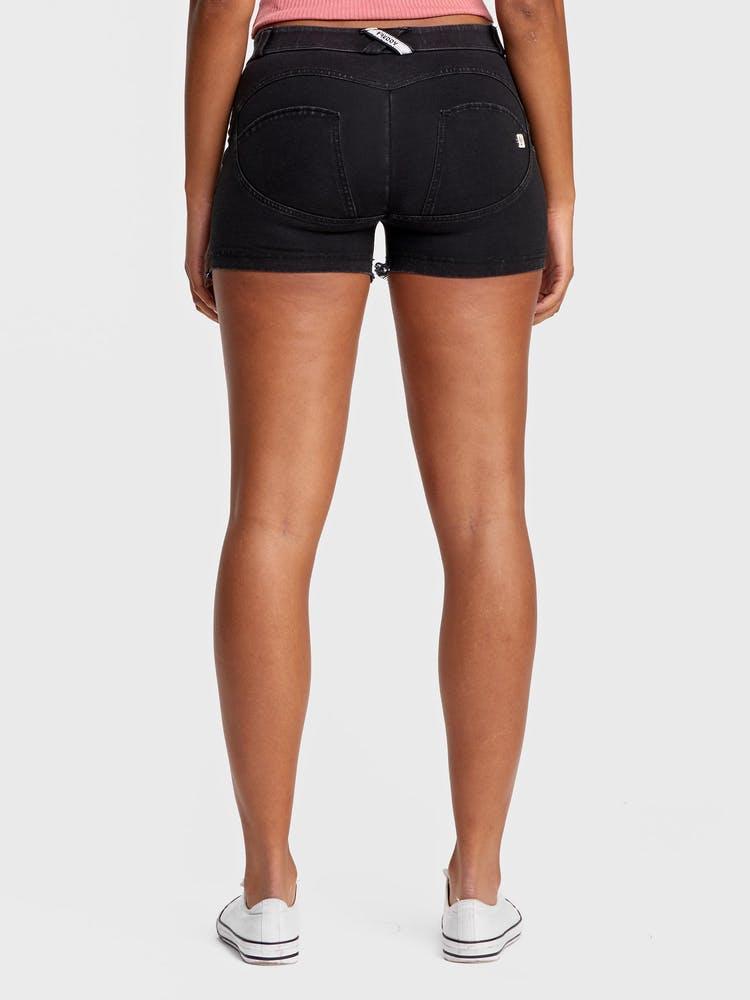 FREDDY WR.UP Denim - Mid-Rise Shorts black-stitching - Black
