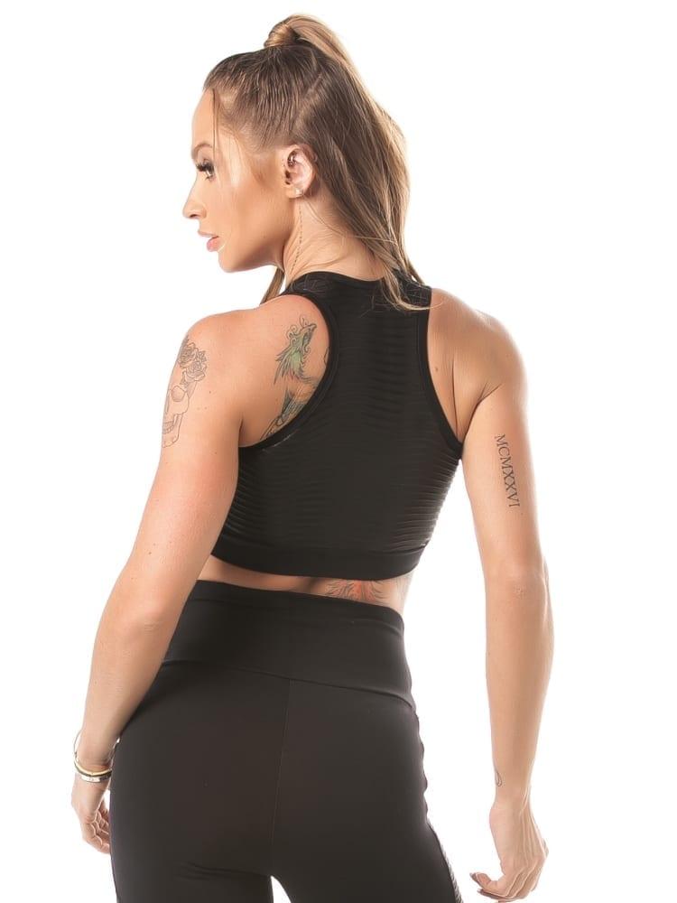 Let's Gym Top Velvet Canelle Sports Bra - black