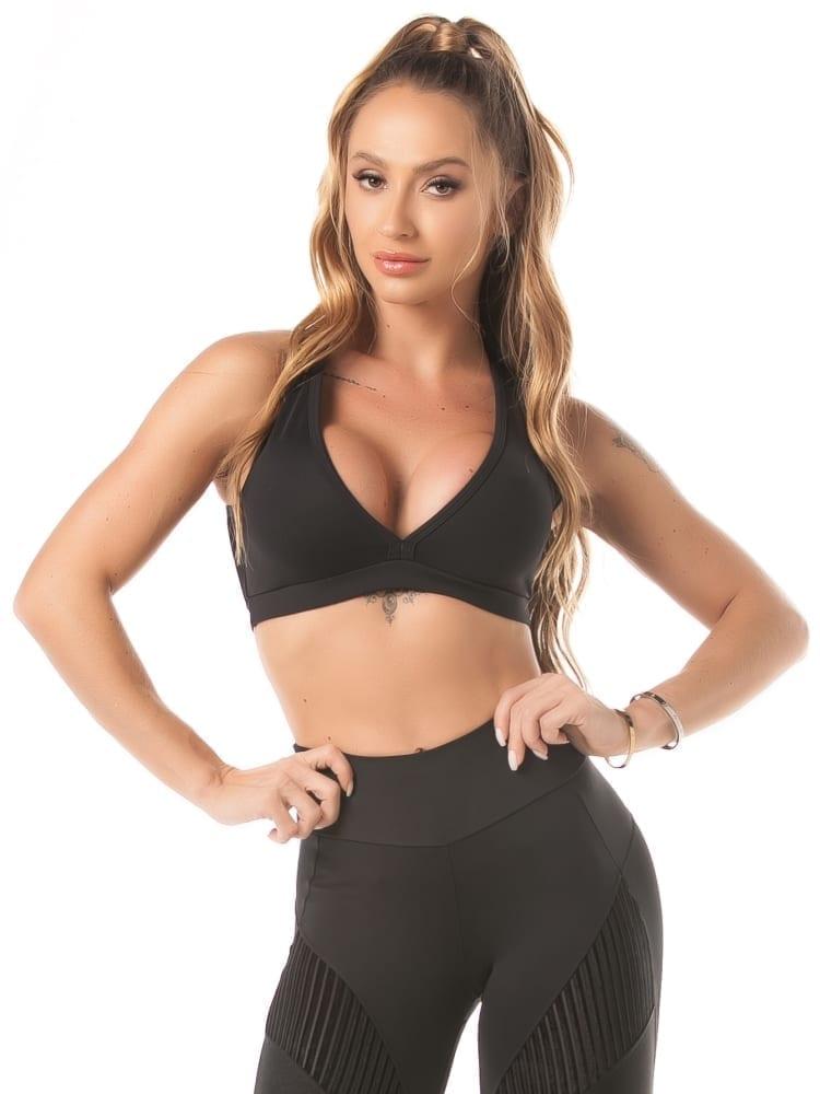 Let's Gym Top Velvet Canelle Sports Bra – black