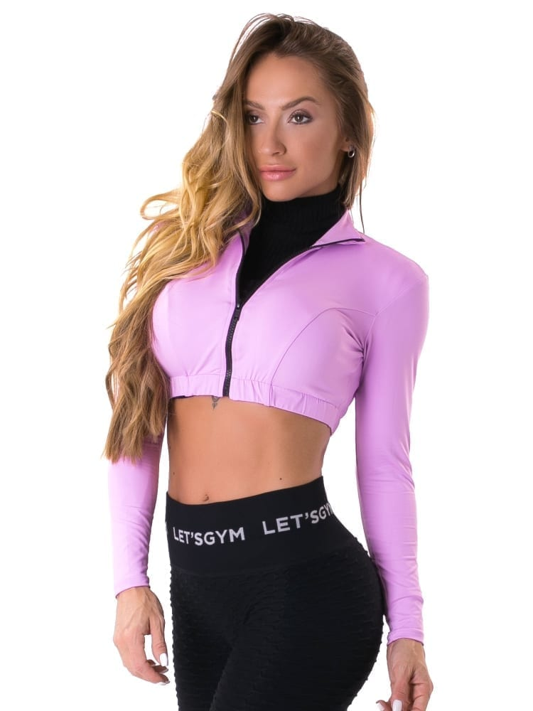 Let's Gym Fitness Cropped Style Trend Top - Lilac
