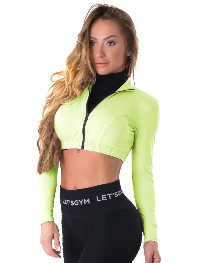 Let's Gym Fitness Cropped Style Trend Top - Neon Green