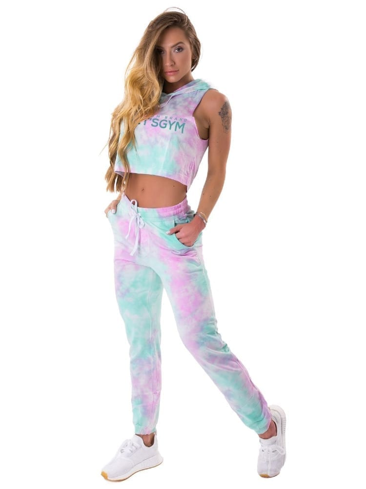 Let's Gym Fitness Cropped Duo Tie Dye Top - Pink/Turquoise