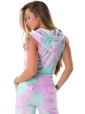 Let's Gym Fitness Cropped Duo Tie Dye Top – Pink/Turquoise