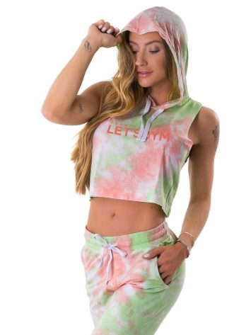 Let's Gym Fitness Cropped Duo Tie Dye Top – Lime/Peach