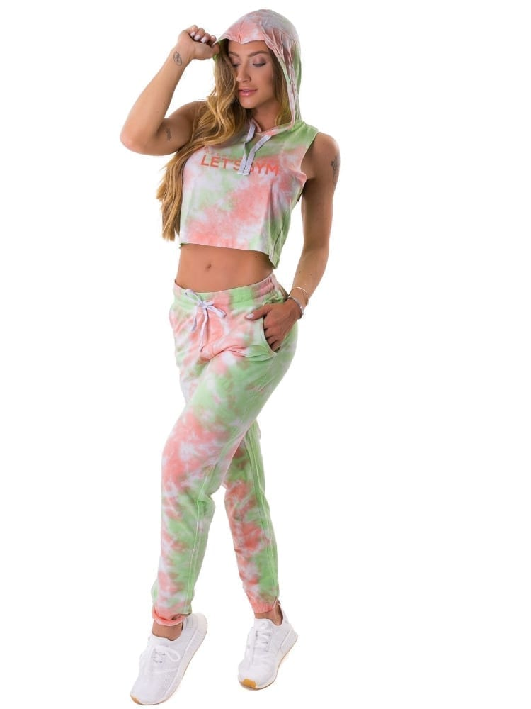Let's Gym Fitness Cropped Duo Tie Dye Top - Lime/Peach