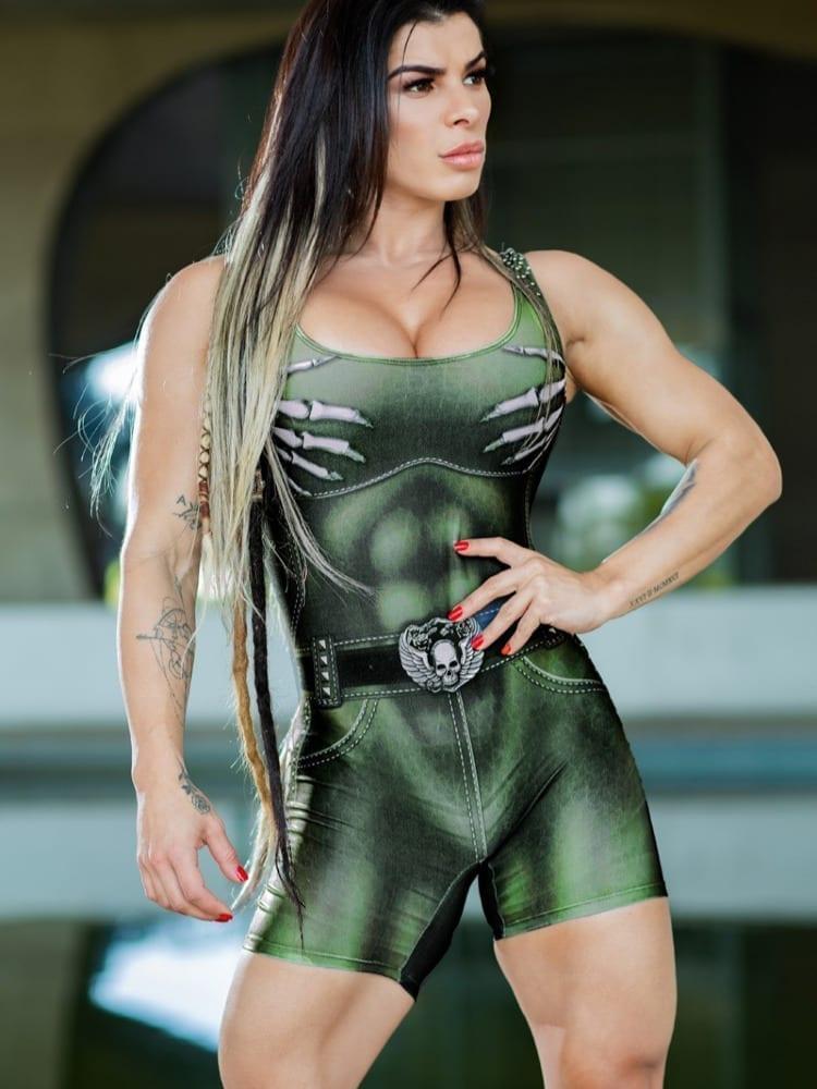 Dynamite Brazil Short Jumpsuit Naughty Skeleton – Olive